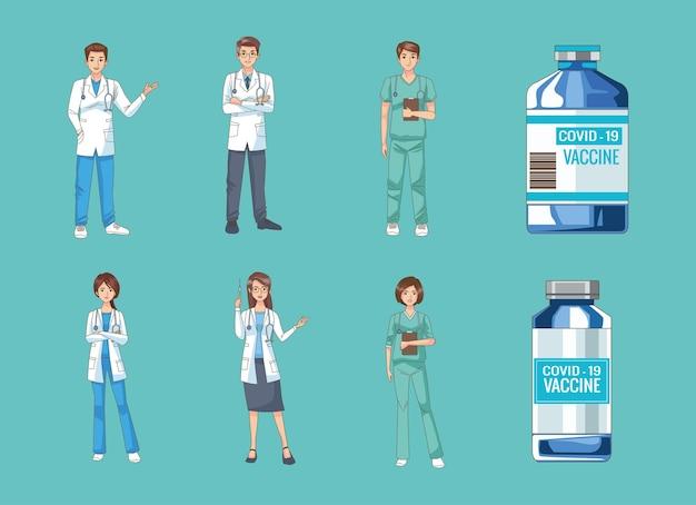 Gruppo di medici con illustrazione di fiale di vaccino