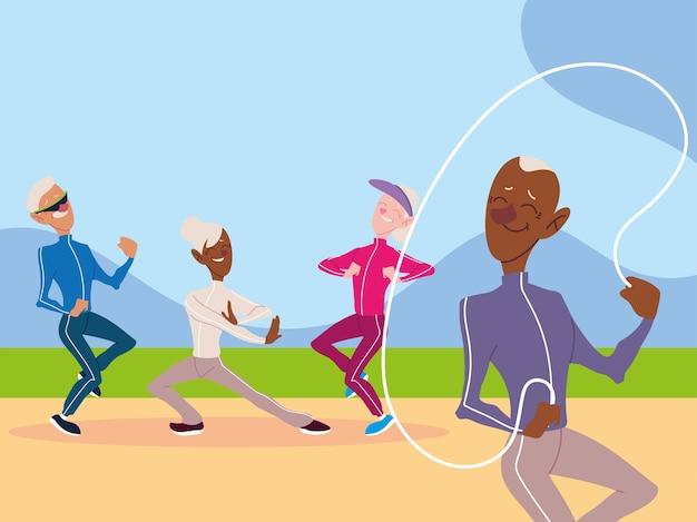 Un gruppo di anziani fa attività fisica nel parco, progettazione di anziani attivi