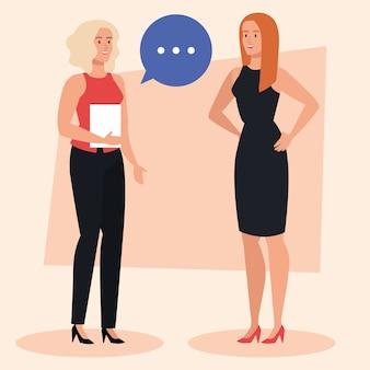 Gruppo di donne di affari eleganti con disegno dell'illustrazione della bolla di discorso