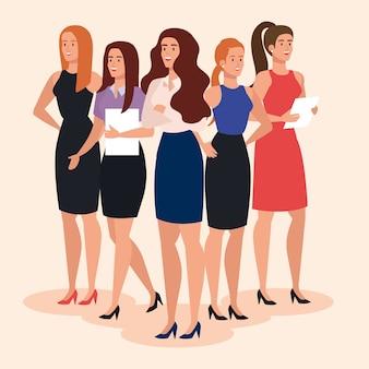 Gruppo di donne di affari esecutive eleganti insieme disegno dell'illustrazione