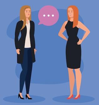 Gruppo di donne di affari esecutive eleganti con disegno dell'illustrazione della bolla di discorso