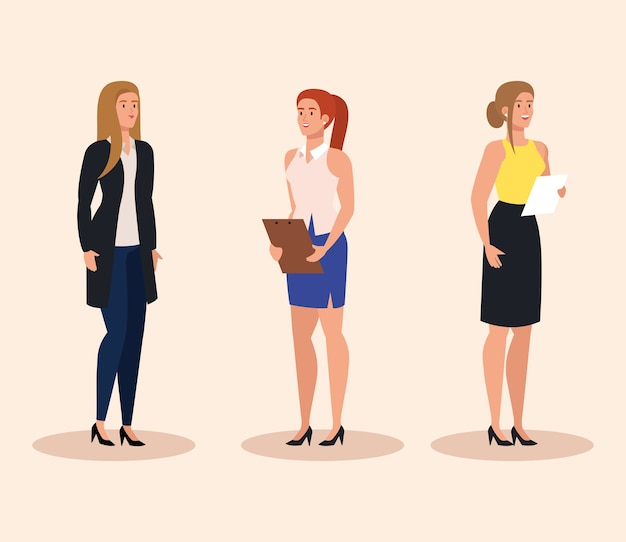 Gruppo di progettazione dell'illustrazione delle giovani imprenditrici eleganti