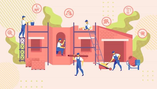 Il gruppo di ingegneri costruisce la nuova illustrazione della costruzione di edifici