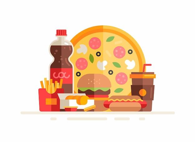 Gruppo di pasti e bevande fastfood. illustrazione piatta
