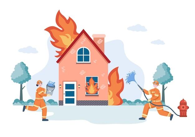 Illustrazione di un gruppo di vigili del fuoco