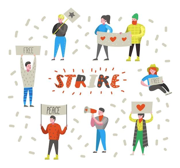 Gruppo di persone arrabbiate piatte che protestano contro lo sciopero