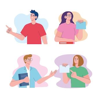 Set di caratteri di gruppo di quattro studenti