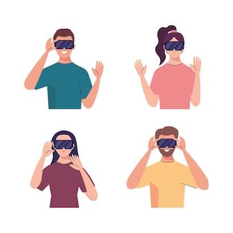 Gruppo di quattro giovani che utilizzano dispositivi tecnologici di maschere virtuali di realtà