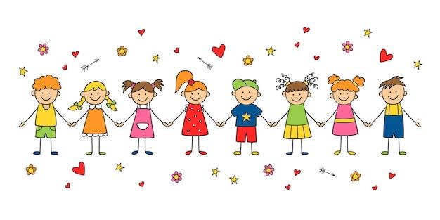 Gruppo di bambini divertenti che si tengono per mano. felice carino scarabocchio bambini