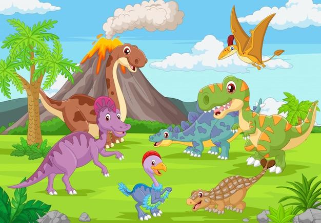 Gruppo di dinosauri divertenti nella giungla