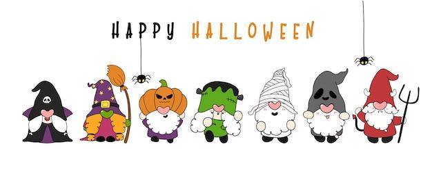 Gruppo di divertenti gnomi di halloween in costume da personaggio happy halloween banner flat cartoon