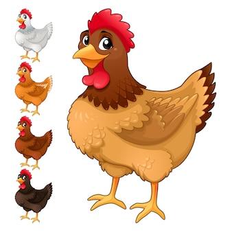 Gruppo di galline divertenti in diversi colori isolato fumetto vettoriale animali