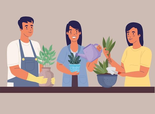 Gruppo di persone di giardinieri