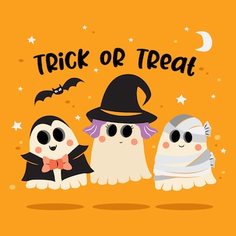 Gruppo di fantasmi in costume di halloween
