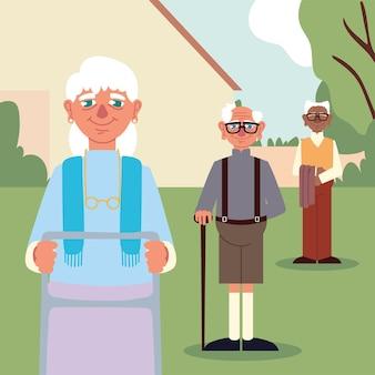 Fumetto dei nonni di gruppo