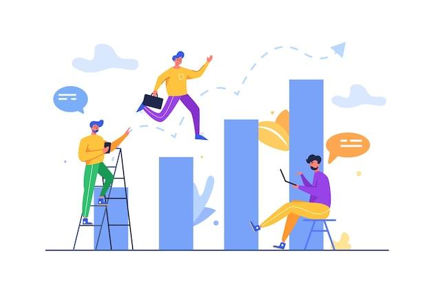 Gruppo di ragazzi che si muovono verso il successo su un grafico verso l'alto in alto isolato su sfondo bianco, piatto