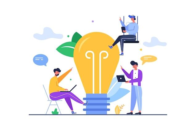 Un gruppo di ragazzi con gadget ha una grande idea sotto forma di una grande lampadina isolata su sfondo bianco