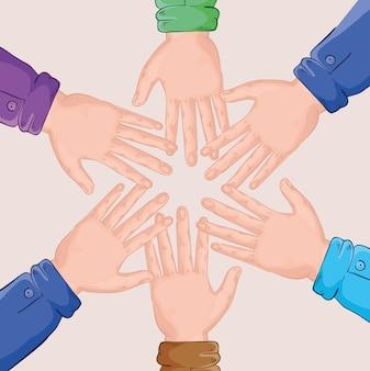 Gruppo di mani team intorno al design