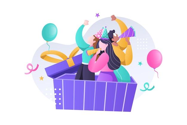 Gruppo di bambino felice che celebra la festa di compleanno con cappello, tromba e palloncini illustrazione