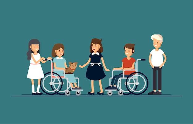 Un gruppo di bambini felici comunicano tra loro e giocano insieme. tha bambino disabile