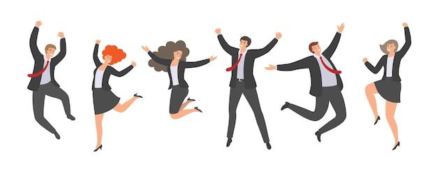 Gruppo di impiegati di ufficio di salto felici nello stile piano isolato