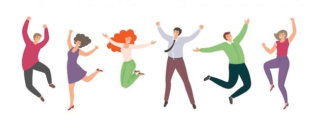 Gruppo di gente che salta felice in stile piano isolato. donne e uomini divertenti disegnati a mano del fumetto.