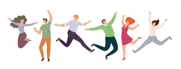 Gruppo di gente che salta felice in stile piano isolato su priorità bassa bianca. donne e uomini divertenti disegnati a mano del fumetto.