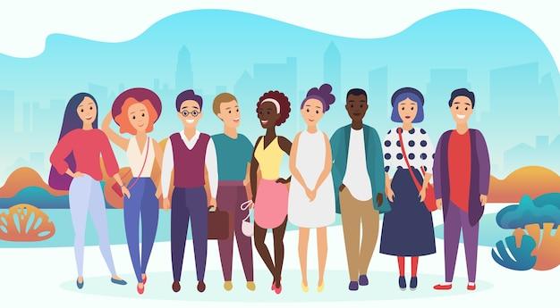 Gruppo di persone felici o team aziendale in abiti casual su uno sfondo di città