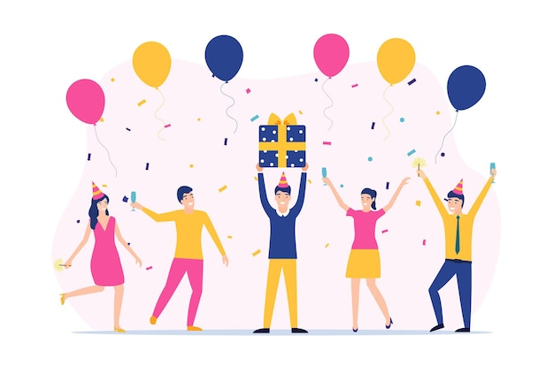 Gruppo di persone felici che alzano la mano per celebrare le vacanze