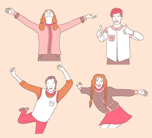 Gruppo di giovani sorridenti felici in abbigliamento casual ballando, godendo, mostrando i pollici.