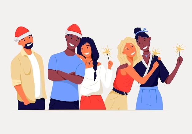 Gruppo di persone isolate in piedi felici. amici allegri festeggiano il natale o il capodanno in compagnia. stelle filanti in mano e un cappello da babbo natale. coppia lesbica, afroamericana ed europea.