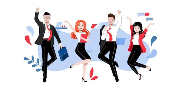 Gruppo di sostenitori di affari di successo felici persone o studenti in diverse pose insieme