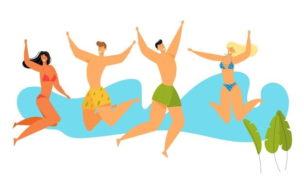 Gruppo di personaggi di giovani felici in costume da bagno che salta con le mani in alto