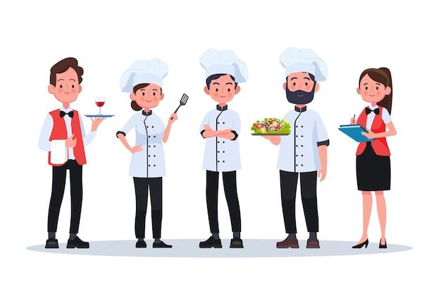 Gruppo di chef, chef uomo e donna. personaggi di persone design piatto.