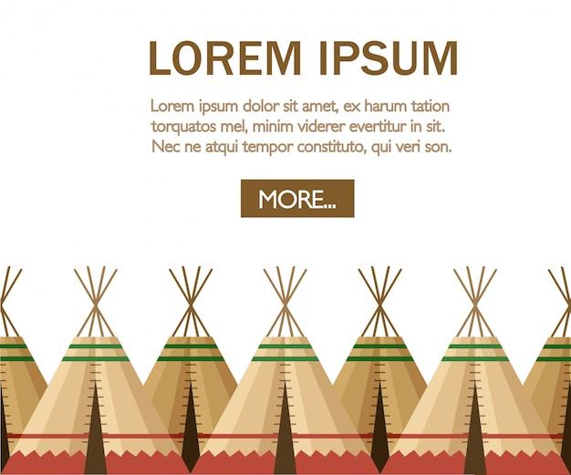 Gruppo di tenda indiana o wigwam. dimora delle nazioni del nord del canada, siberia, nord america. casa in pelle. illustrazione su uno sfondo bianco. pagina del sito web dell'app mobile