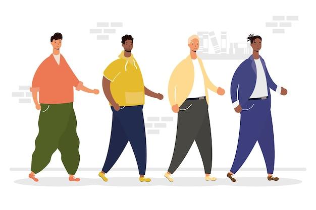 Gruppo di uomini interrazziali che camminano personaggi