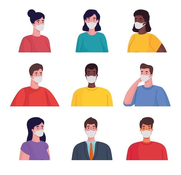Gruppo di persone interrazziali che indossano personaggi maschere mediche