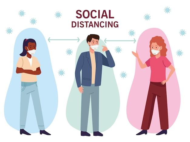 Gruppo di persone interrazziali che indossano maschere mediche con distanza sociale
