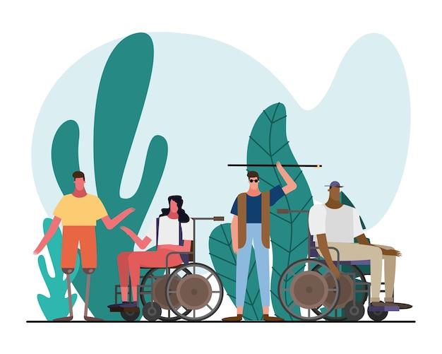 Gruppo di persone interrazziali con personaggi di handicap nel disegno dell'illustrazione del giardino