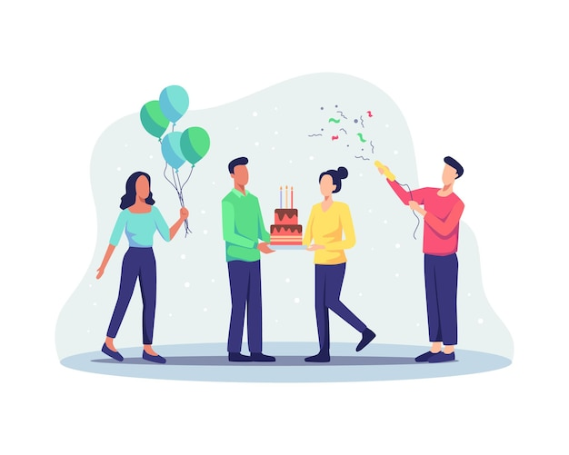 Gruppo di persone gioiose che celebrano la festa di compleanno. celebrazione della festa di buon compleanno con un amico. personaggio di persone che trasportano torta di compleanno e festeggiano. illustrazione vettoriale in uno stile piatto