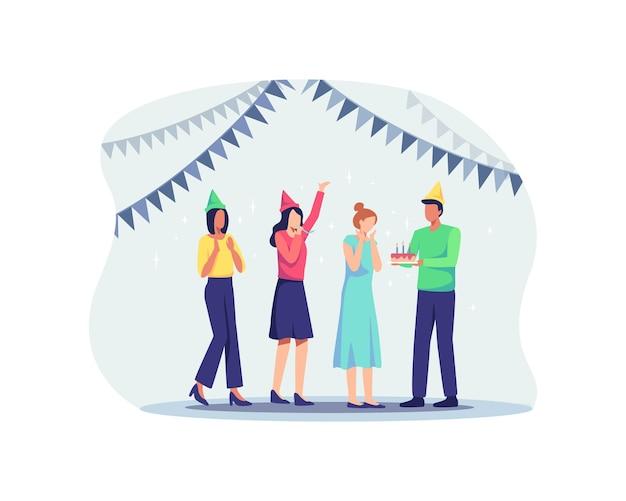 Gruppo di persone gioiose che celebrano la festa di compleanno. personaggi uomo e donna con cappelli che si divertono, sorpresa per il compleanno di un amico. illustrazione vettoriale in uno stile piatto