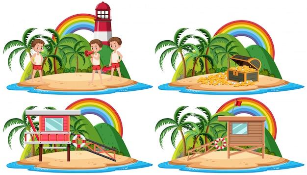 Gruppo di salvagente e bungalow sul personaggio dei cartoni animati tropicale dell'isola su fondo bianco