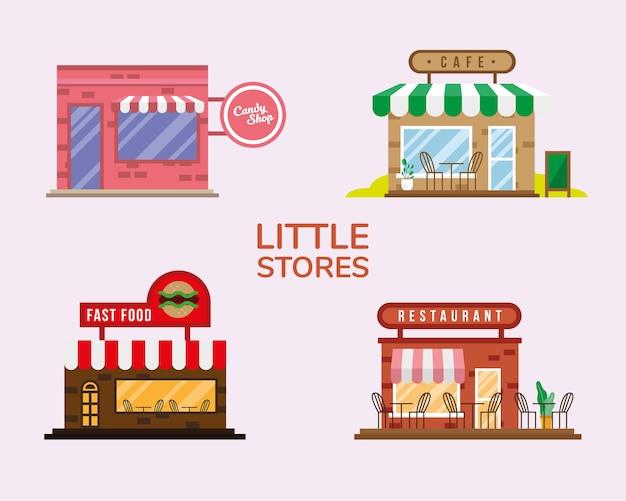 Gruppo di piccoli negozi facciate illustrazione vettoriale design