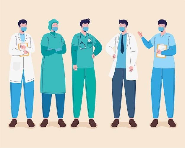 Gruppo di medici maschi