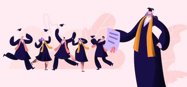 Gruppo di personaggi maschili e femminili in abiti da laurea e berretti gioiscono, fumetto illustrazione piatta