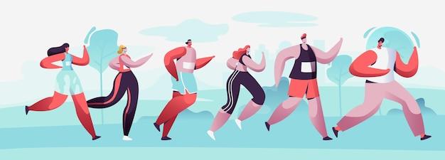 Gruppo di personaggi maschili e femminili che eseguono la distanza della maratona in raw. cartoon illustrazione piatta