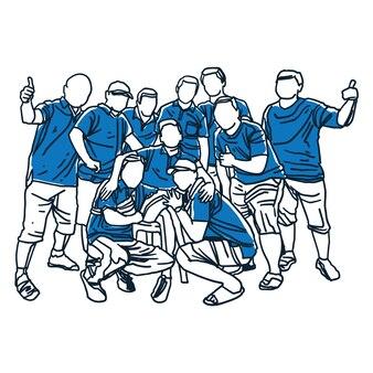 Il gruppo di uomini raccoglie l'illustrazione di arte di linea