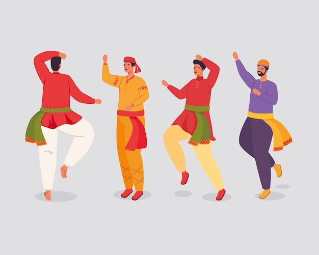 Gruppo di uomini indiani con vestiti tradizionali danzanti design illustrazione