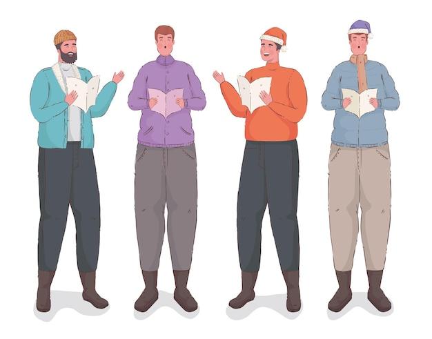 Gruppo di uomini che cantano canti natalizi