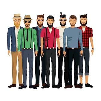 Alla moda uomini di gruppo stile hipster barbuto